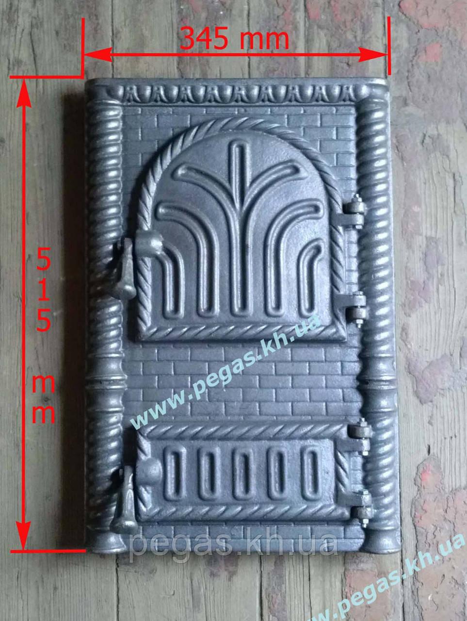 Дверка чугунная (Румынская №1) 345х515 мм печи, барбекю, грубу, мангал