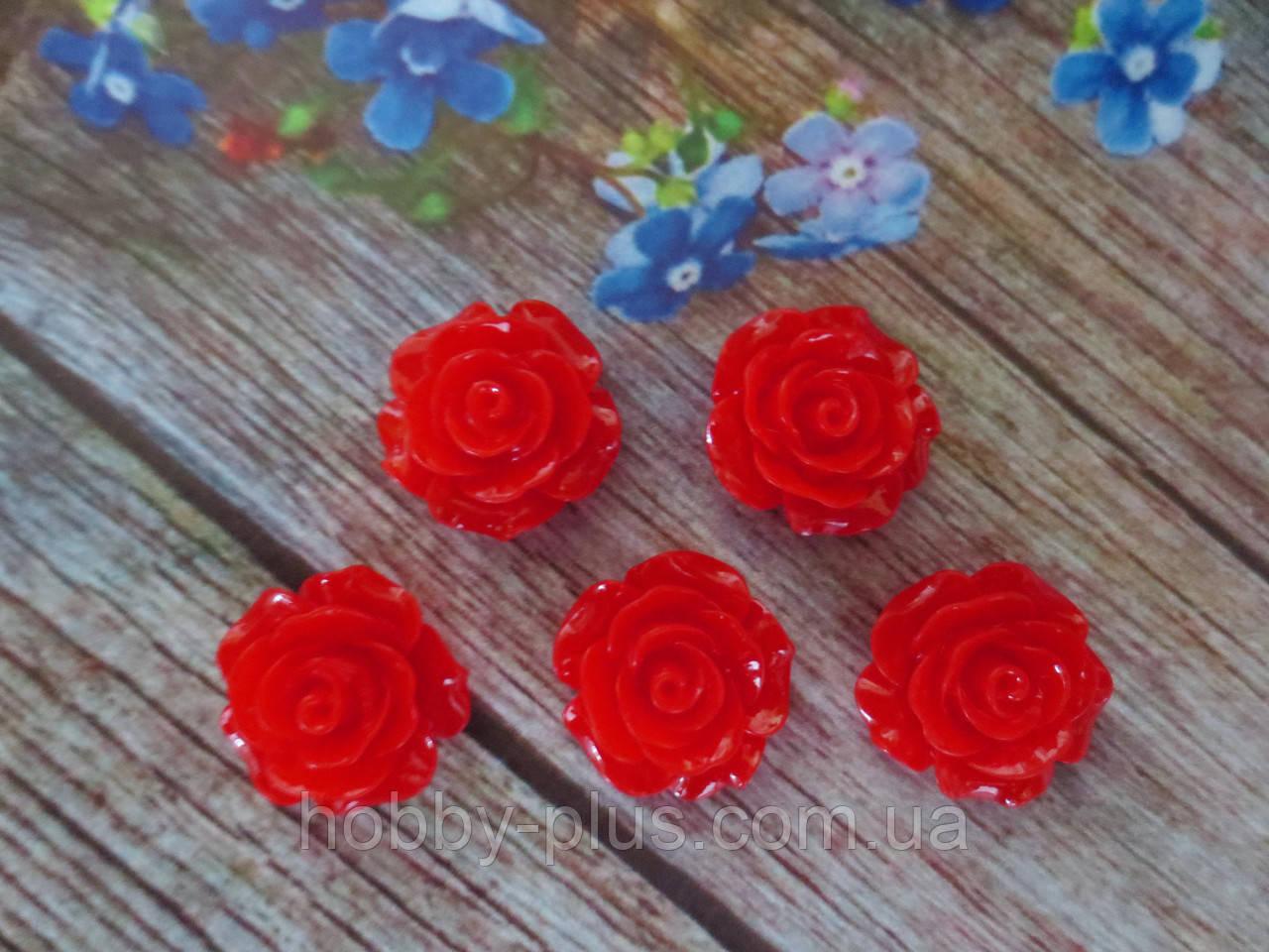 """Серединка акриловая """"Роза лаковая"""", 20 мм, цвет красный, 1 шт."""