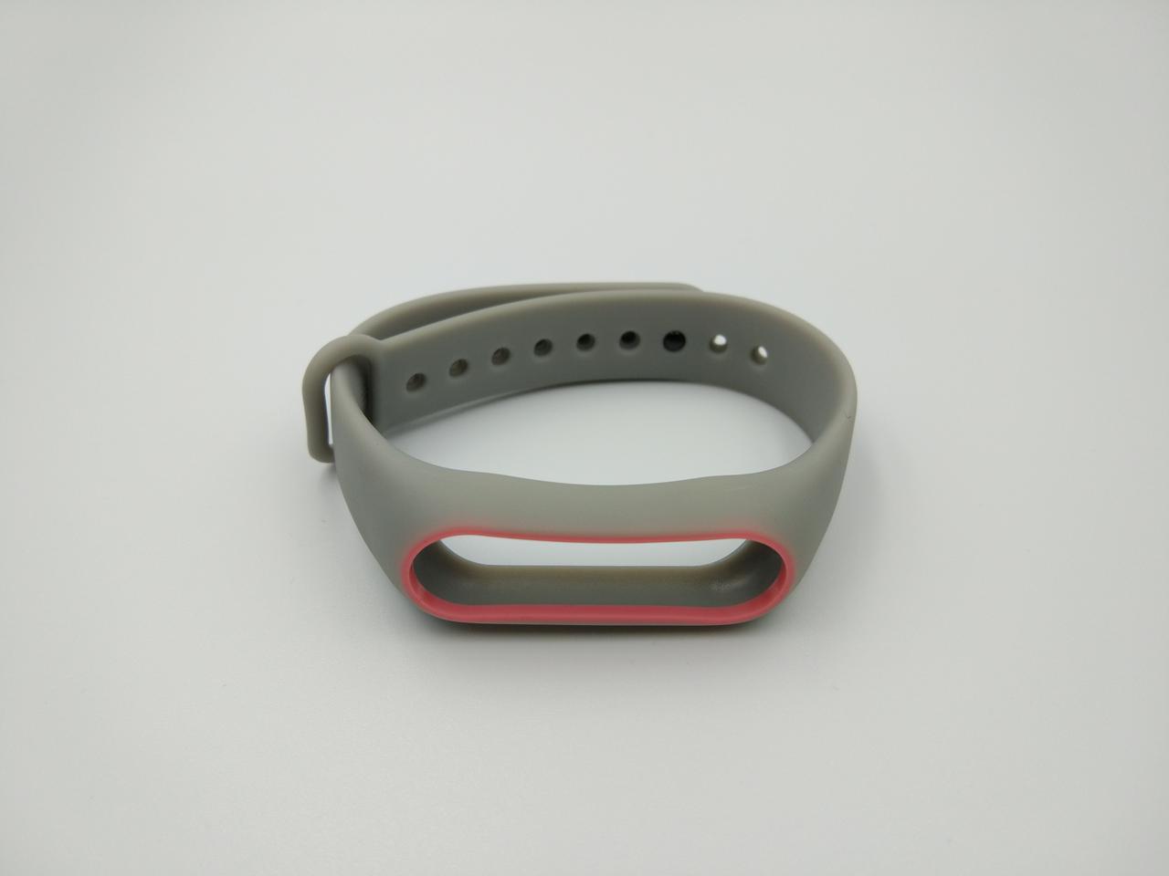 Ремешок Xiaomi Mi Band 2 MiJobs силиконовый с рамкой Серый / Розовый [1088]