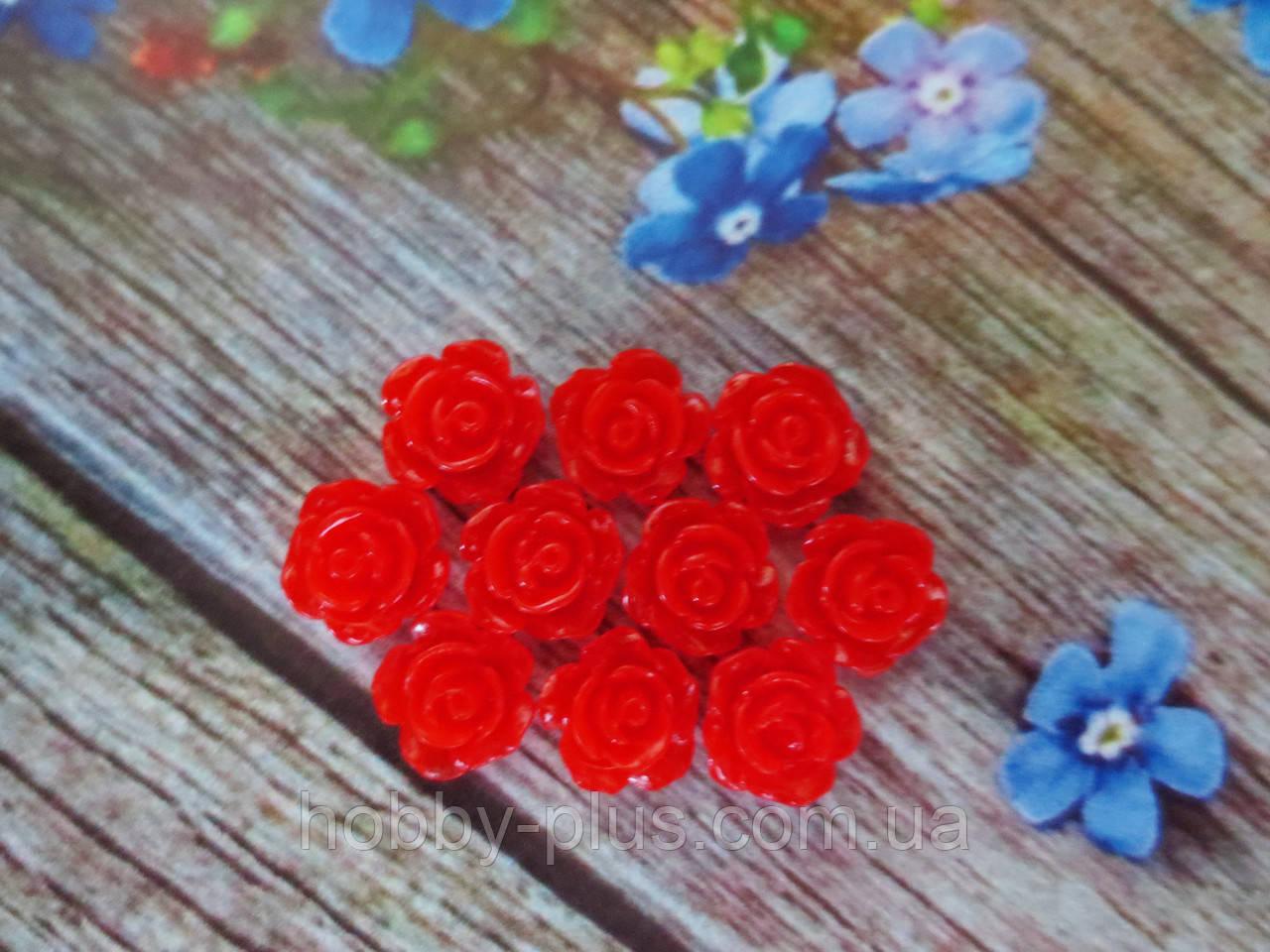 """Серединка акриловая """"Роза лаковая мини"""", 9 мм, цвет красный, 10 шт."""
