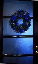Венок новогодний большой  украшенный синий 0423 B, фото 2