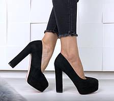 Туфли Ruth черные замшевые на устойчивом каблуке