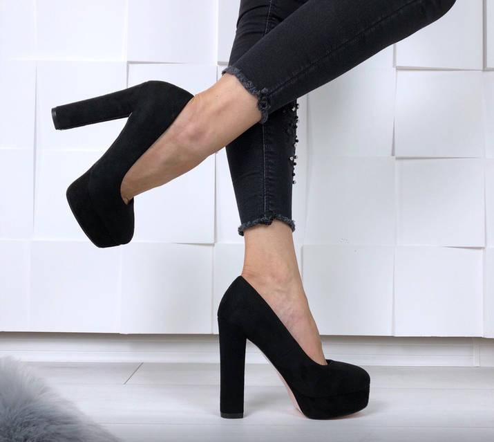 Туфли Ruth черные замшевые на устойчивом каблуке, фото 2