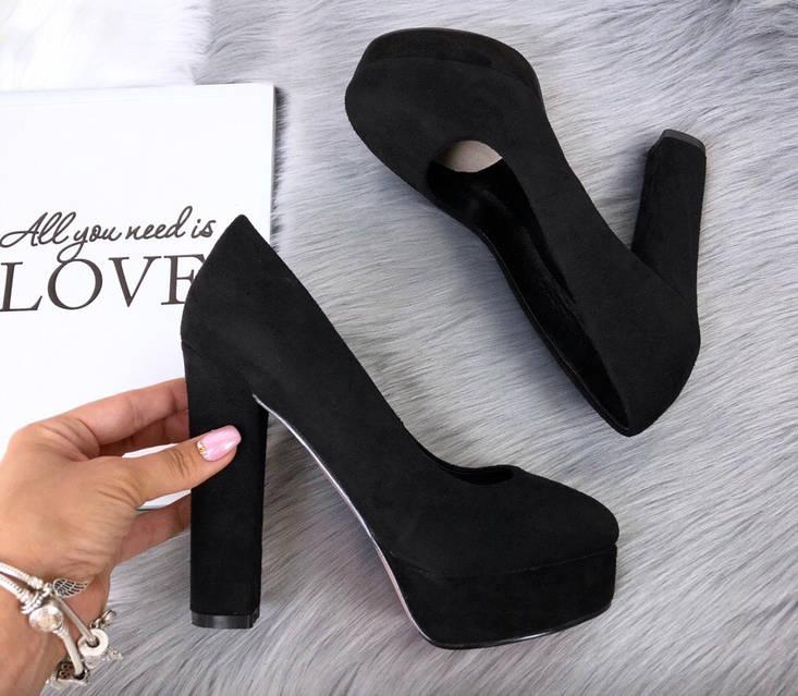 Туфли Ruth черные замшевые на устойчивом каблуке, фото 6