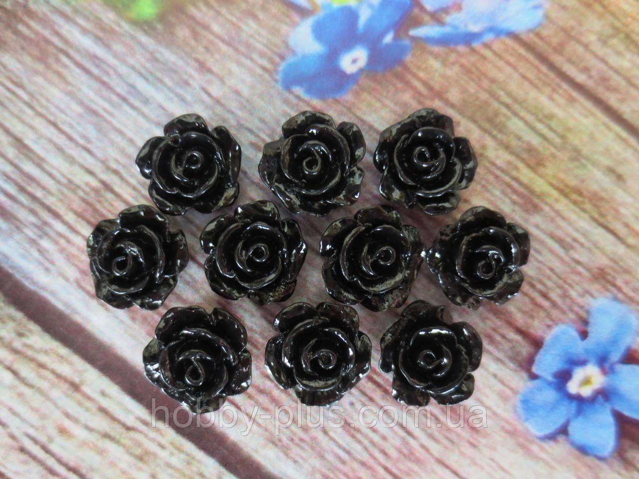 """Серединка акриловая """"Роза лаковая мини"""", 9 мм, цвет черный, 10 шт."""