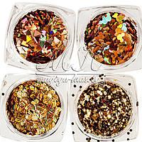 Набор золотых декоров микс в пластиковом контейнере, 12 шт