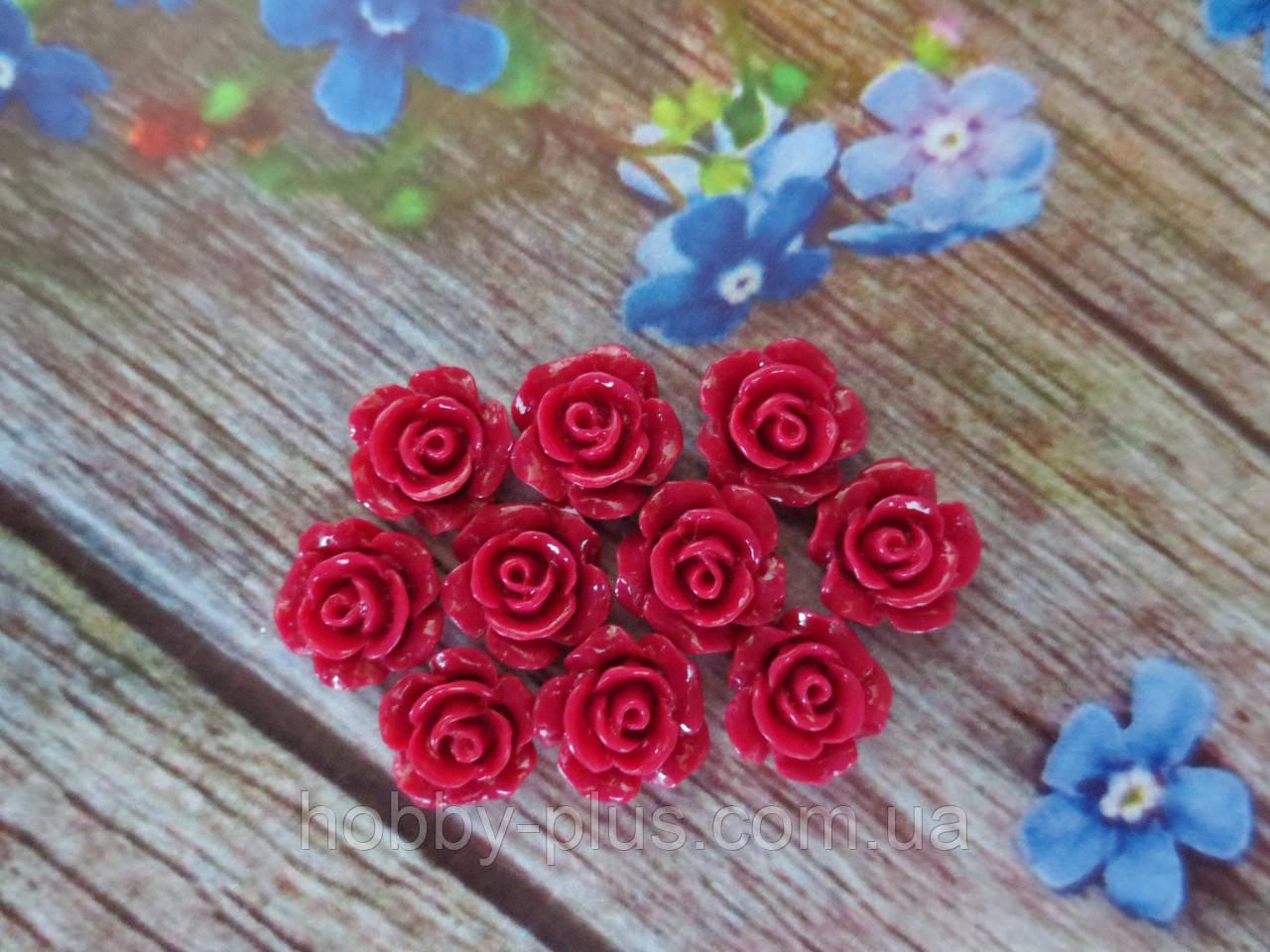 """Серединка акриловая """"Роза лаковая мини"""", 9 мм, цвет бордовый, 10 шт."""