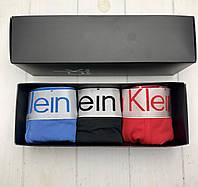 Подарочный набор мужского нижнего белья чоловічі труси Calvin Klein Кельвин Кляйн трусы боксеры 3шт реплика