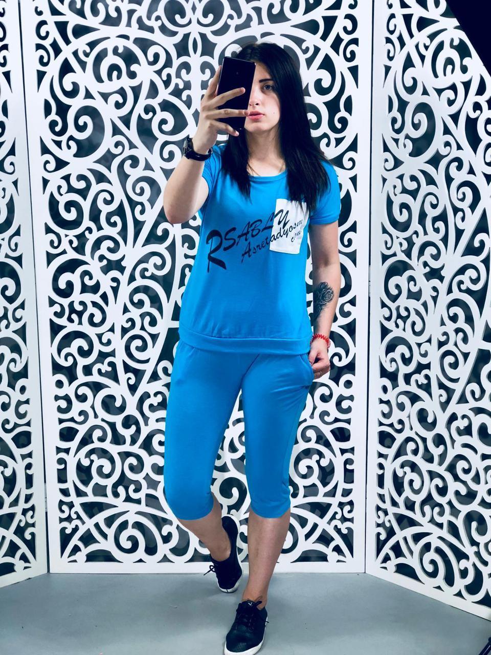 "Стильный женский костюм бриджы+футболка""Трикотаж""  44, 46 размер батал"