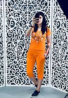 """Стильный женский спортивный костюм бриджы+футболка""""Трикотаж""""   44, 46 размер батал"""
