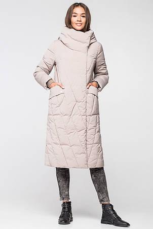 Длинная теплая зимняя женская куртка BTF 1886 - бежевая, фото 2