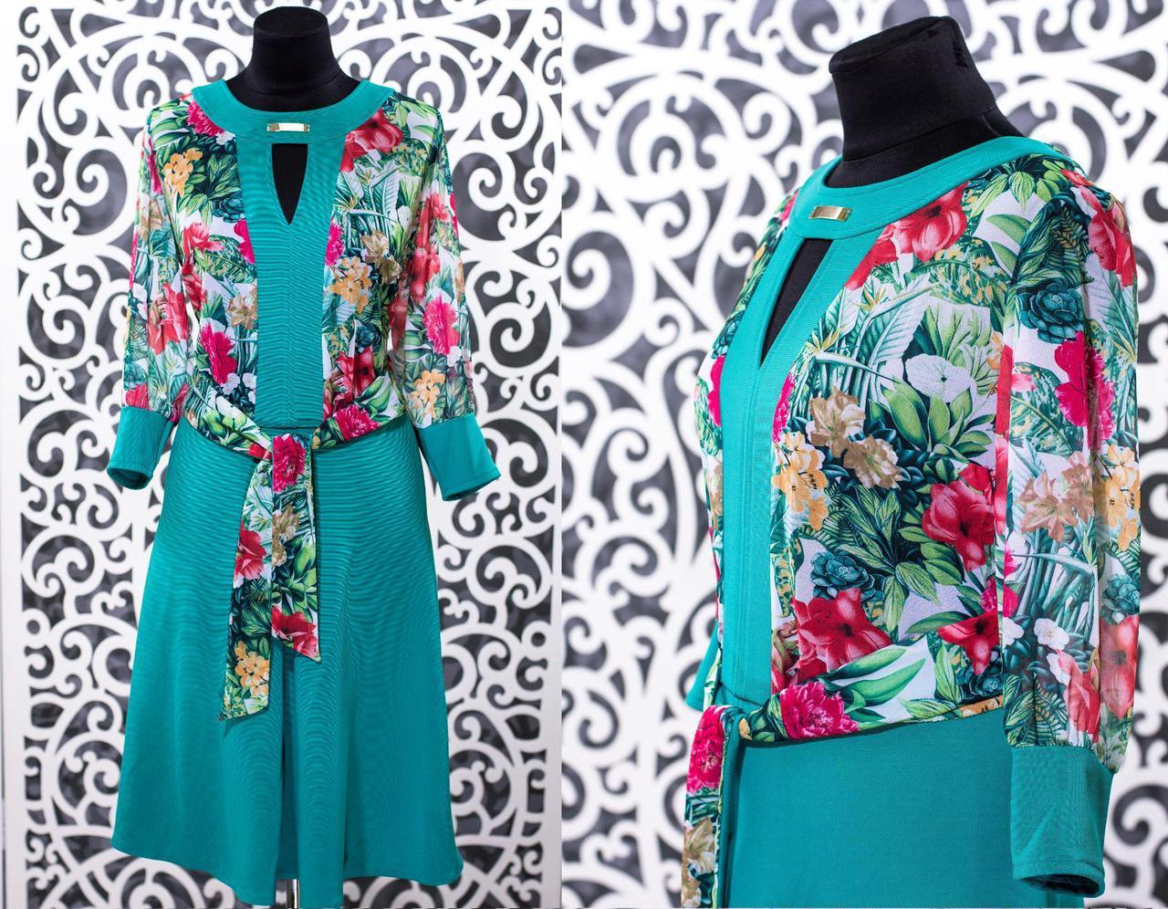 "Шикарное комбинированное женское платье ткань ""Кукуруза+шифон"" 50, 52 размер батал"