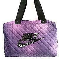 Стеганные сумки Nike (фиолетовый+черный стёганный)28*38, фото 1