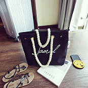 Черная женская тканевая пляжная сумка