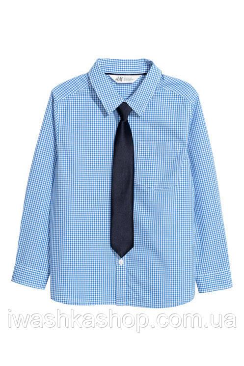 Голубая рубашка в клетку с галстуком на мальчика 7 - 8  лет, р. 128, H&M.