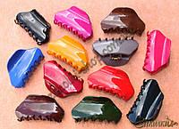 Крабы для волос; материал: лакированный каучук, длина: 9 см, разные цвета, 12 штук