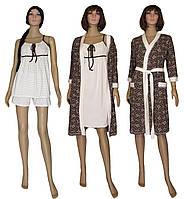Комплект женский домашний 4 предмета 18069 GoldArin Venzel Brown коттон, р.р.42-56