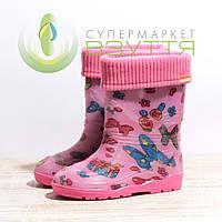Сапоги резиновые для девочки на съемной подкладке  301 роз бант 25-30 размеры