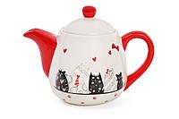 """Чайник керамический """"Cat"""" 925мл с объемным рисунком"""