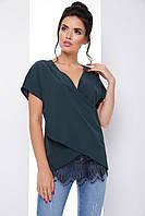Воздушная блуза с запахом свободного кроя с кружевом 7069, фото 1