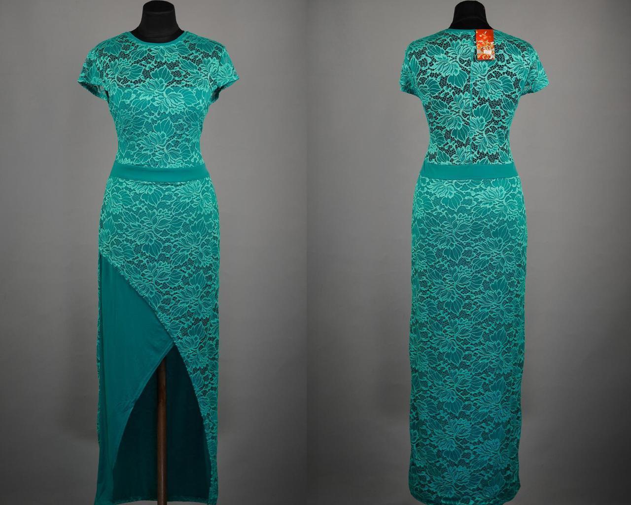 """Эффектное кружевное платье в пол ткань """"Масло"""" 48, 50 размер батал"""