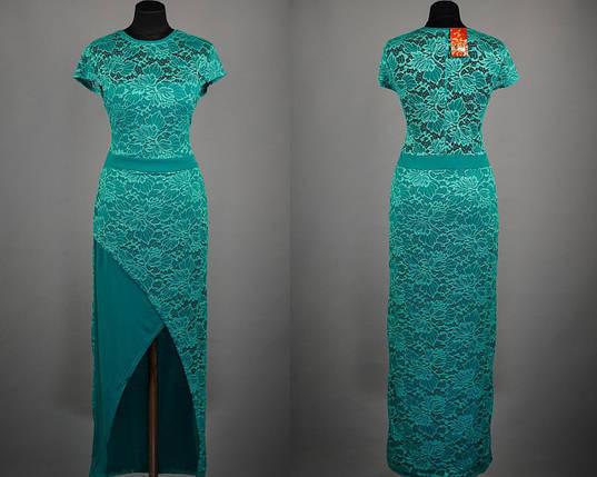 """Эффектное кружевное платье в пол ткань """"Масло"""" 48, 50 размер батал, фото 2"""