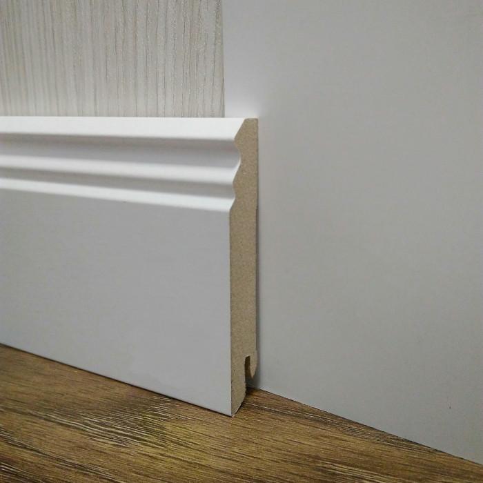 Плинтус белый напольный МДФ высокий 18,2х96х2400мм., ламинированный