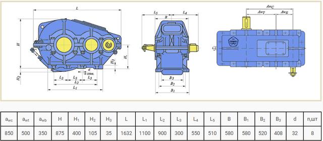 Габаритні розміри редуктора РМ-850 креслення