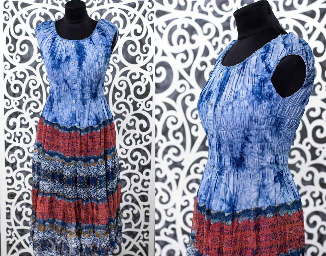 "Красивый женский сарафан, ткань ""Стрейч-коттон+Шифон на подкладке"" 50 размер батал"