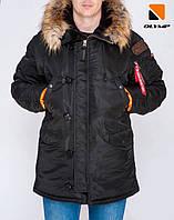 Мужская зимняя куртка парка аляска черного цвета от Olymp, тёплая куртка аляска N-3B Slim Fit