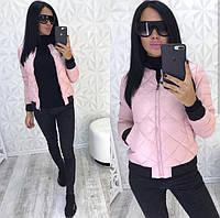 Стильная женская куртка  бомбер цвет розовый размер М(44)