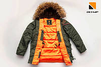 Мужская зимняя куртка парка аляска цвета хаки от Olymp, тёплая куртка аляска N-3B Slim Fit
