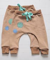Теплые штаны гаремы из хлопка с начесом, с аппликацией. Объем регулируется. 6-12 мес