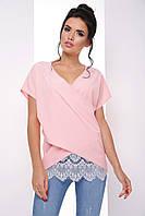 Воздушная блуза с запахом свободного кроя с кружевом 7069/4, фото 1