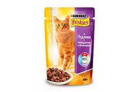 Корм для котов Фрискис (Friskies) в подливе с говядиной и ягненком 100гр