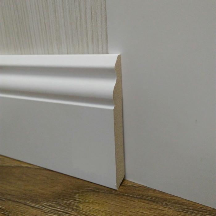 Плинтус белый напольный МДФ высокий 14,2х100х2400мм., ламинированный