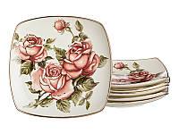 """Набор из 6 тарелок """"Корейская роза"""" 25 см, фарфор 215-096"""