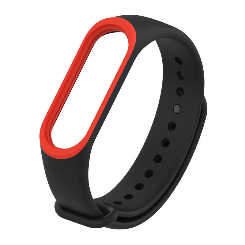Ремешок Xiaomi Mi Band 4 / 3 MiJobs силиконовый с рамкой Черный / Красный [1644]