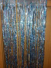 Дождик на фтозону светло-голубой с глограммой - высота 1метр, ширина 10см