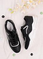 Черные кроссовки женские на шнуровке 25812, фото 1