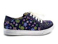 Детские весенние кожаные кеды ботиночки для девочки в цветочек Tobi 32р.