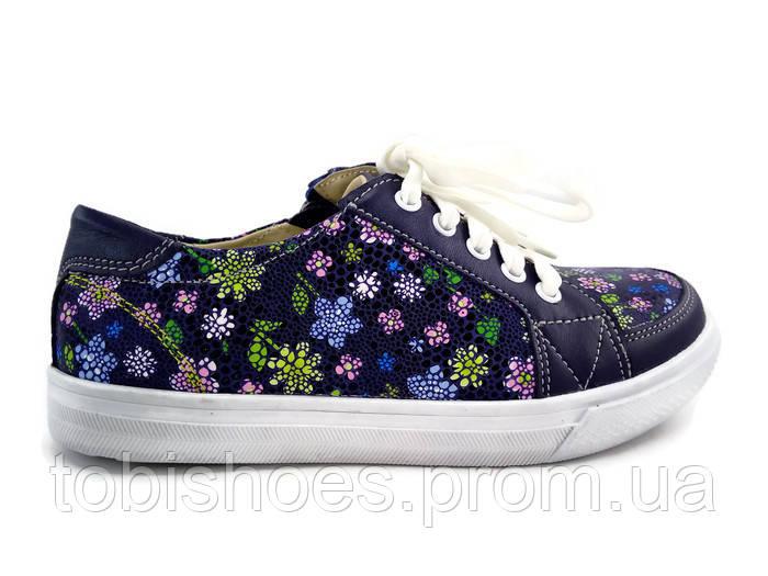0492fdd0 Детские весенние кожаные кеды ботиночки для девочки в цветочек -  Интернет-магазин детской обуви