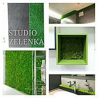 Вертикальное озеленение стабилизированным мхом ягель