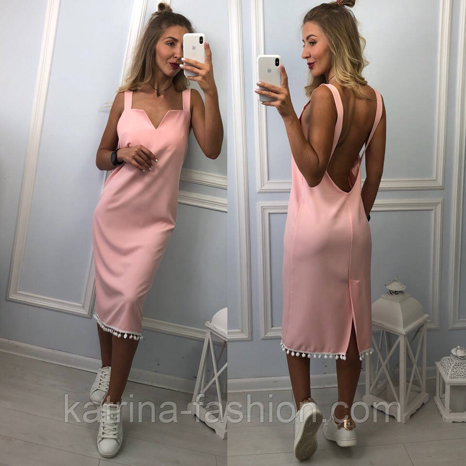 Женское платье с открытой спиной (2 цвета)