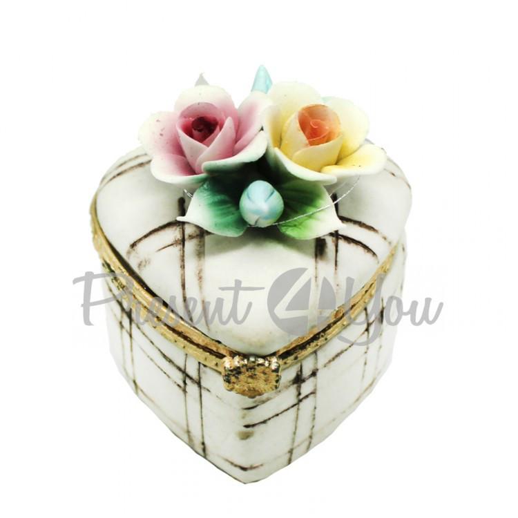 Шкатулка фарфоровая «Весенние цветы», h-5х5х4,5 см