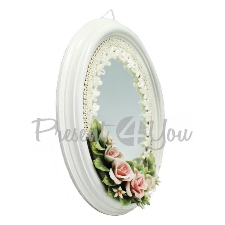 Зеркало в овальной рамке «Фарфоровые цветы», 21х16 см
