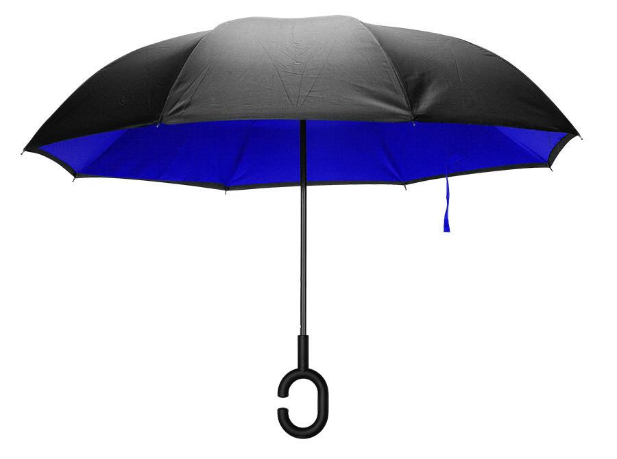 Зонт двухслойный с обратным механизмом KCASA UB-1 (синий)