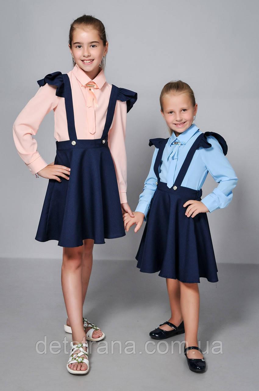 Детская блузка для девочки с галстуком однотонная