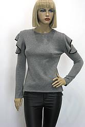 Жіноча сіра кофта з відкритими плечами і рюшами Miss Dora