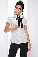 Модная блузка с рюшами, воротником и с галстуком-бантом 7070/1, фото 1